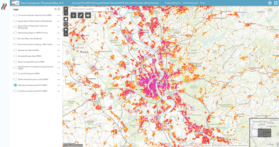 Screengrab from the Pan-European Thermal Atlas, one of the sites in the database. It shows a map with specks of pink, red and orange in different areas.